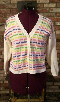 Vintage 70s 80s White Rainbow Stripe Cardigan Sweater PinUp/Rockabilly/Retro