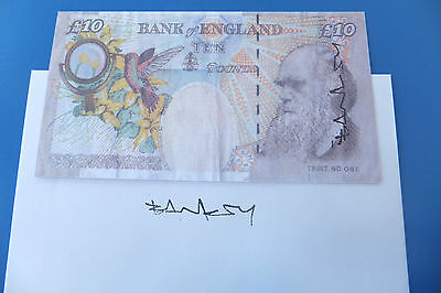 Banksy signed tenner & envelope original from the Santa's Ghetto exhibition 2004