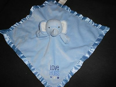 Stepping Stone Security Blanket I Love Hugs Blue Elephant Baby Lovey Satin