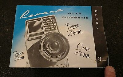 Vtg Owners Manual Revere Camera Model 118, 116, & 114 Power Zoom 8mm Instruction