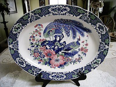 "Vintage Extra Large Heavy 18"" Peacock Oval Serving Platter"