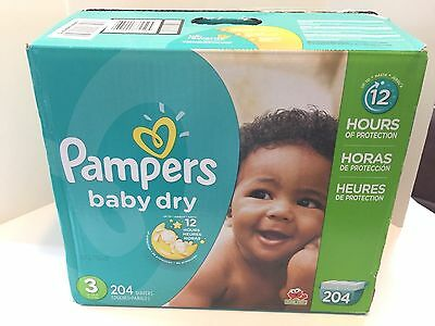 Pampers Baby Dry Diapers Economy Pack Plus, Size 3, 204 Count ...