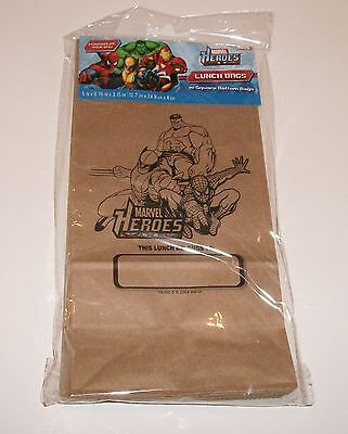Marvel Heroes - 15 Square Bottom Lunch Bags.