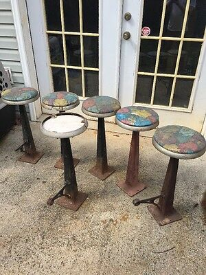 6 vintage cast iron diner stools soda fountain shop Ice Cream Parlor kitchen