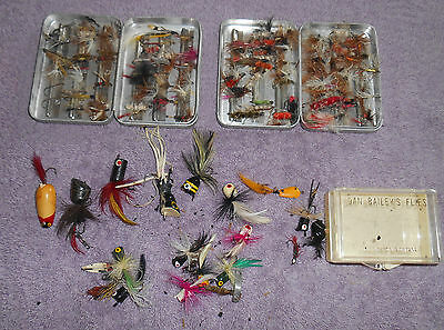 Lot of Two Perrine #66 Fly Tins with 60+ Flies Plus Poppers Dan Bailey's Box