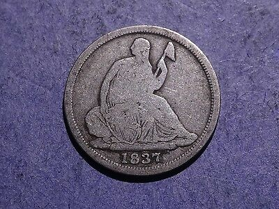 1837 No Stars Small Date Seated Liberty Half Dime VG