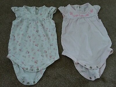 Baby girl pink 6-9 months detailed baby grow