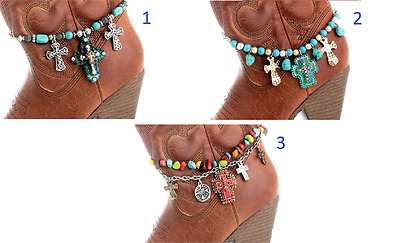 Rhinestone Turquoise Or Red Cross Beaded Spiritual Boot Strap Anklet Jewelry