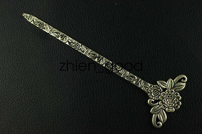 Chinese collection old Tibetan silver Flowers Hairpin CZQ3