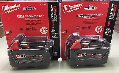 (2) Genuine Milwaukee M18 XC 4 amp 18V Red Lithium Batteries  48-11-1840