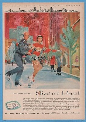 1960 St Paul MN Winter street ice skating rink Carnival Northern Natural Gas ad