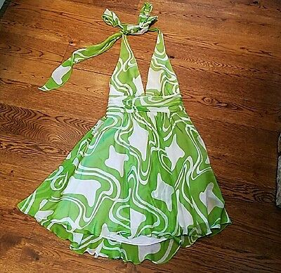 New Milly Ny silk chiffon green and white halter dress  New with tags