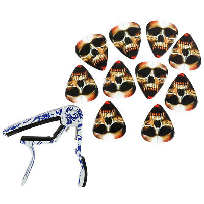 10pcs Skull Guitar Picks Acoustic Folk Guitars Capo Blue and white porcelain