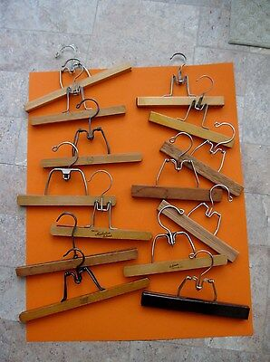 Lot of 14 Wooden Clamp Style Trouser Skirt Hangers~Belmar Nevco Walker Setwell +
