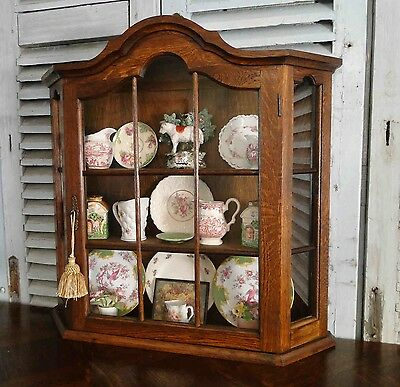 Antique French Oak Wall Shelf Curio Dome TopGlass Cabinet Bonnet Top key