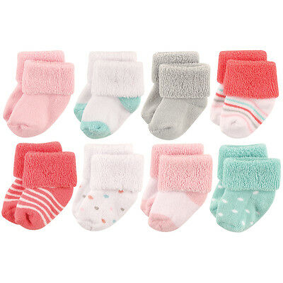 Luvable Friends Baby Girls 8 Pack Newborn Socks  0-6 Months Coral Dot New