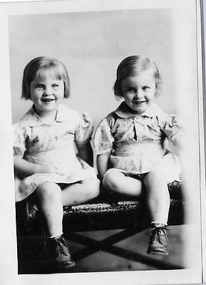 Vintage Old 1940's Photos Cute Twins Girls Joyce and Joanne Making Funny Faces
