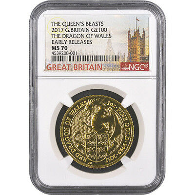 2017 1 oz British Gold Queen's Beast Dragon Coin NGC MS70 ER
