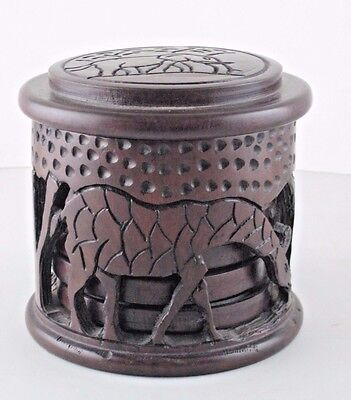 African Hand Carved Wood Wooden Coaster Set & Container w Lid Rhino Giraffe Vtg