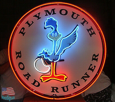 """Road Runner Plymouth Car Auto Pub Bar Neon Sign 24""""x24"""" From USA"""