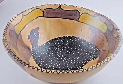 """Bowl African Hand Carved & Painted Wood Wooden Guinea Bird 7.5"""" diam Vtg"""