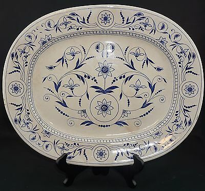 Antique English Transferware Platter - Blue and White Scroll