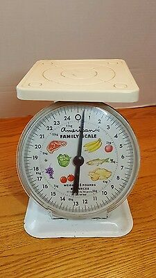 Vintage American Family 25lb Metal Scale White Top shabby chic rusty decor works