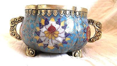 Antique Cloisonne Pot scollup top Heavy Chinese Vase-1800 bronze & brass Signed