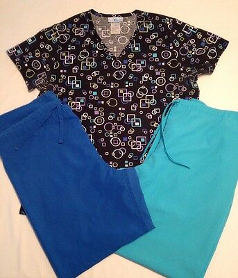 Lot of 3 SB Scrubs~ size M ~Top & 2pr Pants good used condition