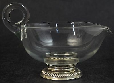 Vintage Frank M Whiting Sterling Silver 925 Footed Glass Creamer Gravy Boat