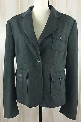 Maurices Women's Size L Large Fully Lined Gray Blazer Suit Jacket Career F15