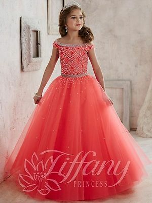 Girl kids Pageant Dress flower girl Prom Party Princess Ball Gown Formal Dress