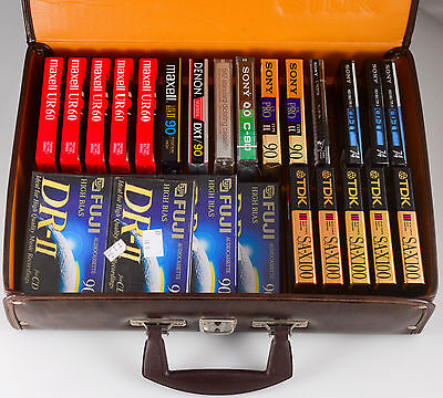 30 Sealed Cassette Tapes SONY TDK Maxell Lot UD XLII-S Type II  in carrying case