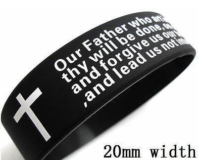 50x Religious Cross Lord's prayer Bible Silicone Bracelets Christian Wristbands