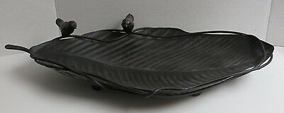 Garden Home Decor Metal Cast Iron Large Leaf Shaped Tray Birds Dark Brown