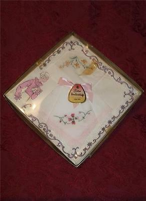 3 VINTAGE FLORAL EMBROIDERED COTTON HANDKERCHIEFS HANKIES w LACE TRIM NEW IN BOX