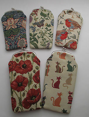 Tapestry Reading or Sunglasses Case / Pouch ,Red Poppy, Cats Bird or Floral