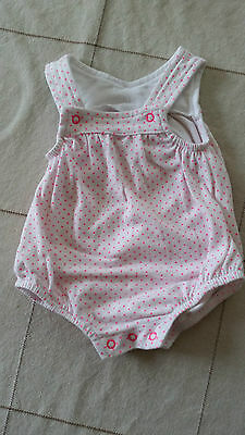 Baby Girls Newborn White & Pink Overalls - Brand New - Never worn - Size:0000