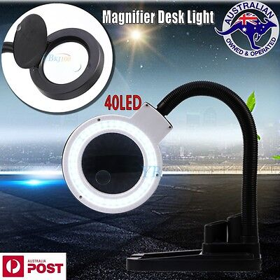 Large Lens Lighted Lamp Desk Magnifier Magnifying Glass with Container LED Light