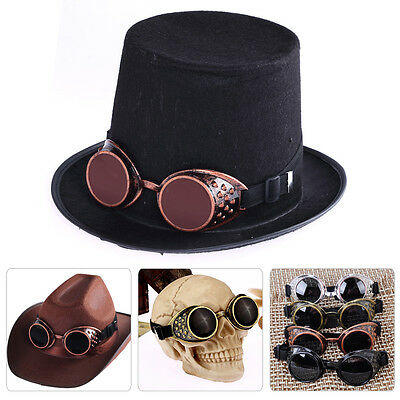 Vintage Steampunk Goggles Glasses Welding Cyber Punk Gothic Rave Lens Cosplay