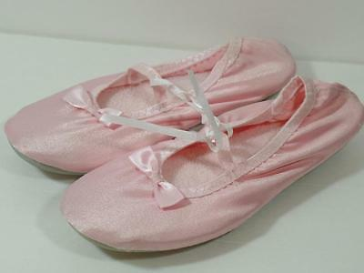 New Girl's Pink Satin Soft Ballet Dance Slippers Shoes, Sz 2-3