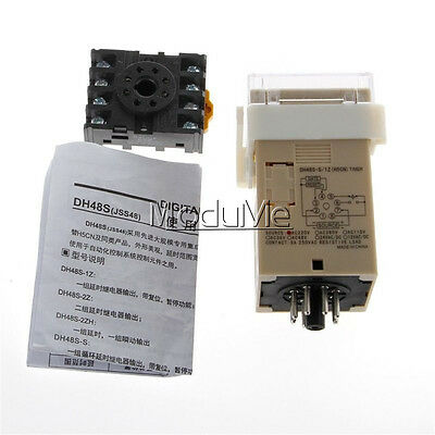 AC 220V DH48S-S Digital Precision Programmable Time Delay Relay Socket Base M