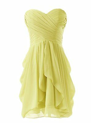 US 12 Short Formal Chiffon Bridesmaid Dress Evening Wedding Ball Party Gown B104