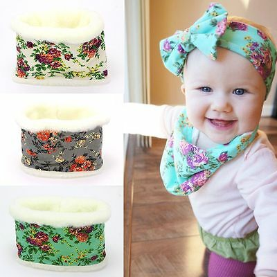 Baby Floral Cotton Plush Scarf Warm Winter Snow Soft Cap No Top Headband Hat
