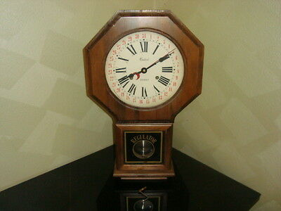 """Vintage CENTURION Key Wind 35 Day Wall or Mantle Clock 23 1/2"""" Tall Wood Case"""