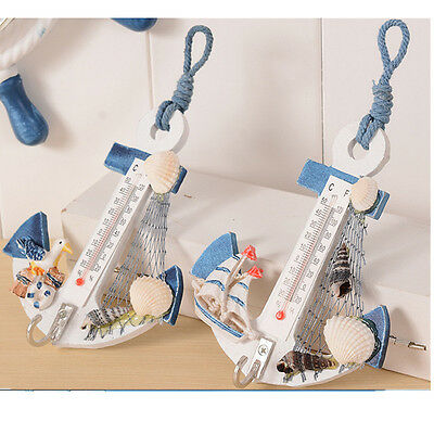 Anchor Shape Wall Hook Home Wooden Door Hanger Nautical Conch Thermometer Decor.
