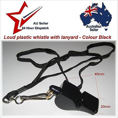 Loud Plastic Coach Whistle & Lanyard. Hiking Emergency Survival Gear Fox40 style