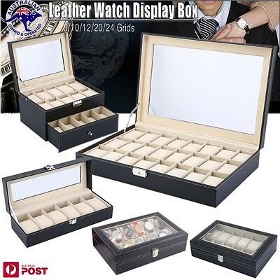 6/10/12/20/24 Grids Watch Display Case PU Leather Jewelry Storage Box Organize
