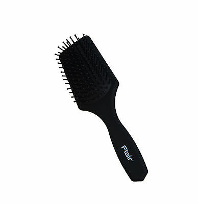 Flair F84 Mens Paddle Hair Brush Soft Rubberised Handle Ball Ended Nylon Pins