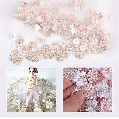 Embroidery Lace Floral Flower Leaf Tulle Trim Sewing Wedding Dress Decoration
